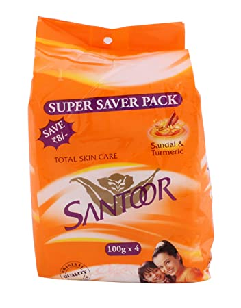 Santoor Total Skin Care Sandal And Turmeric Soap Bathing Bar 100g pack Of 8 Health & Beauty
