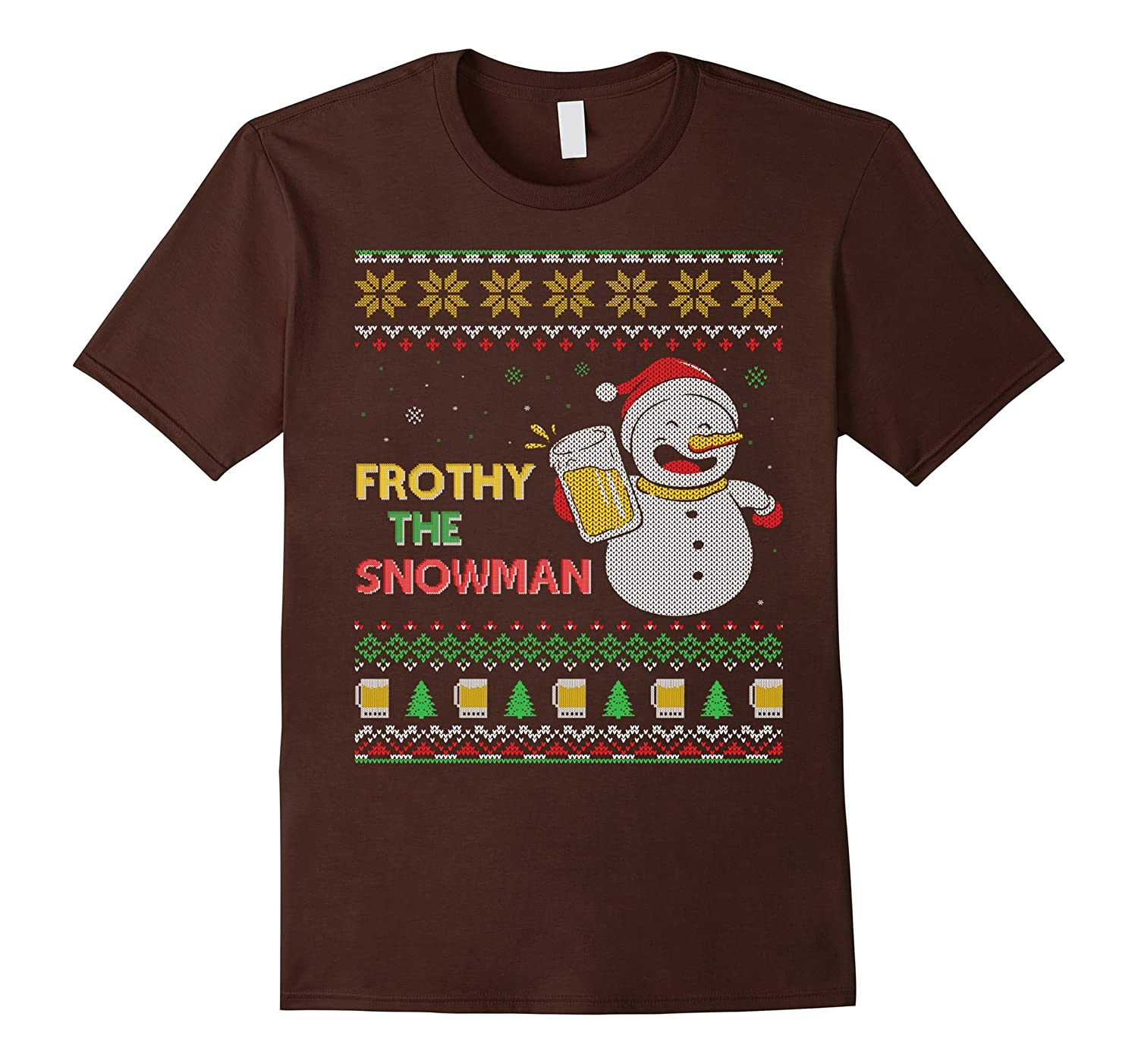 Frothy The Beer Drinking Snowman Ugly Christmas Style Shirt-AZP