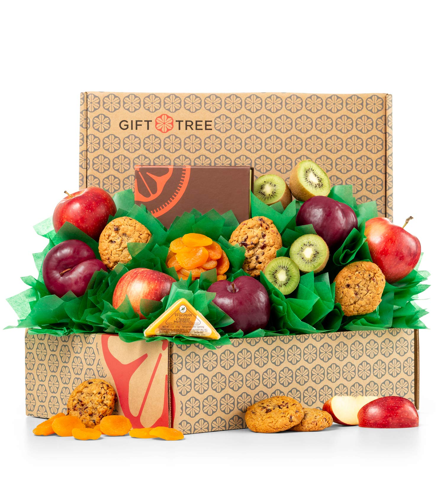 GiftTree Fresh Fruit & Cookies Gift Basket | Box Includes Apples, Kiwis, Plums, Oatmeal Cookies, Wisconsin Cheddar Cheese & more | Perfect Thank You, Birthday, and Holiday Present