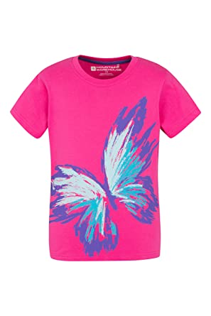 bed71598da0f05 Mountain Warehouse Sketchy Butterfly Kids Tee 100% Cotton with Easy Care &  High Quality Print