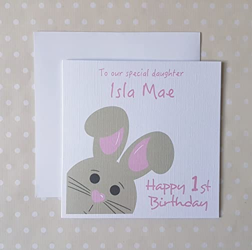 1st Birthday Card Girl Personalised First Birthday Card For