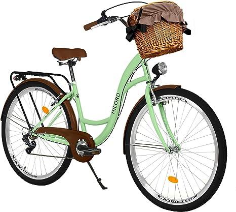 Milord Bikes Bicicleta de Confort, Menta, de 7 Velocidad y 26 Pulgadas con Cesta y Soporte Trasero, Bicicleta Holandesa, Bicicleta para Mujer, Bicicleta Urbana, Retro, Vintage: Amazon.es: Deportes y aire libre
