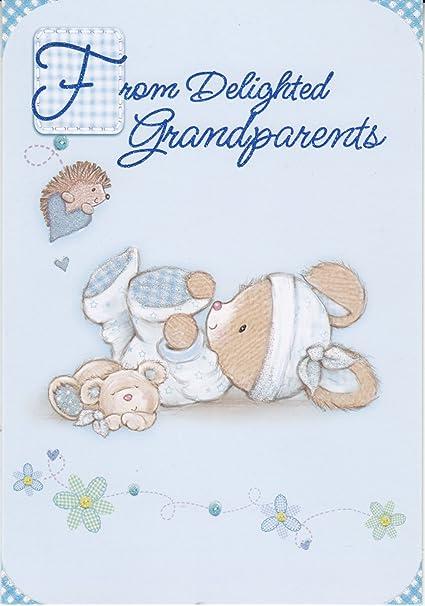 De encantado abuelos - Tarjeta de para recién nacido (azul): Amazon ...