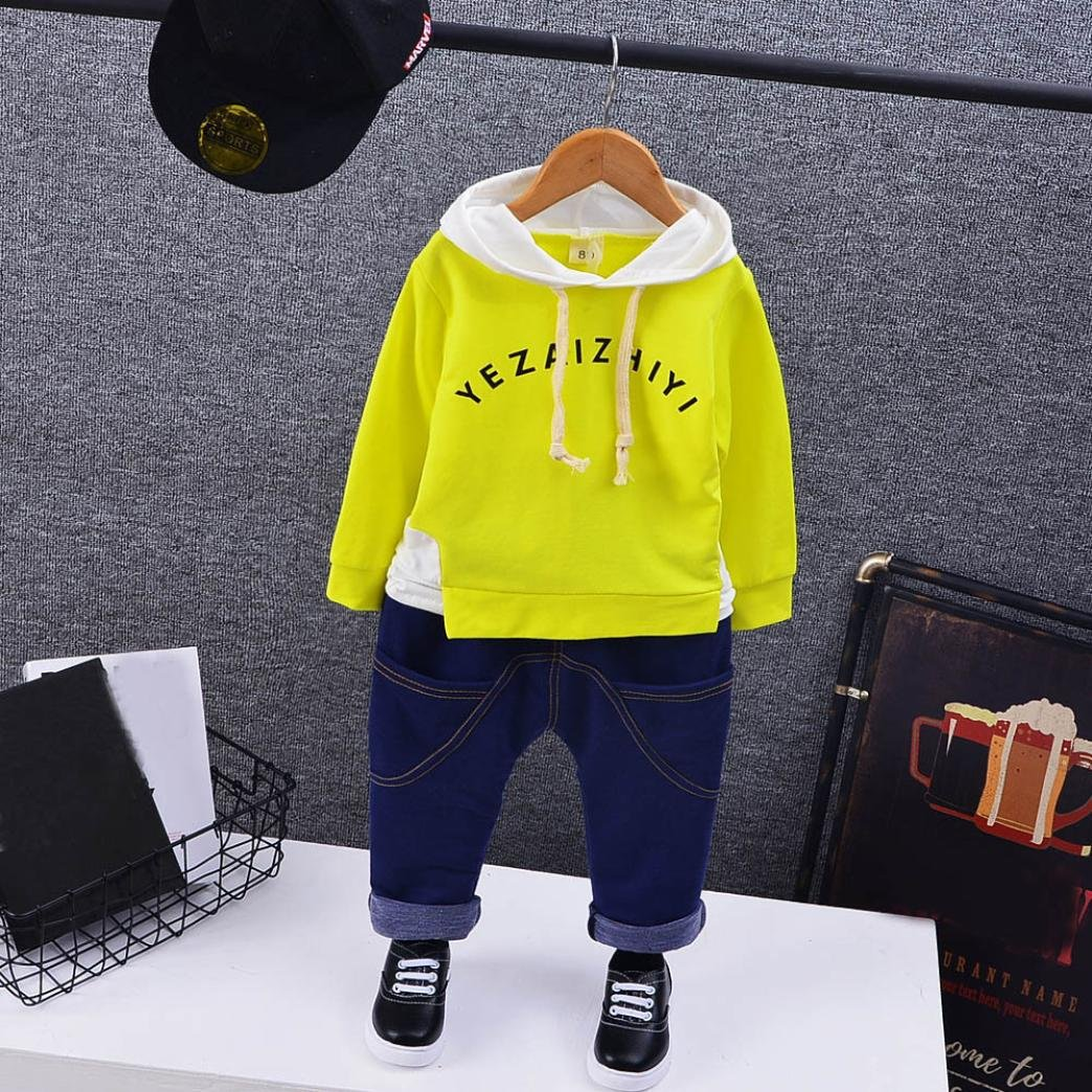 Boys Stylish Letter Hoodie+Denim Pants 2Pcs Kids Outfits Clothes DIGOOD For 1-5 Years old