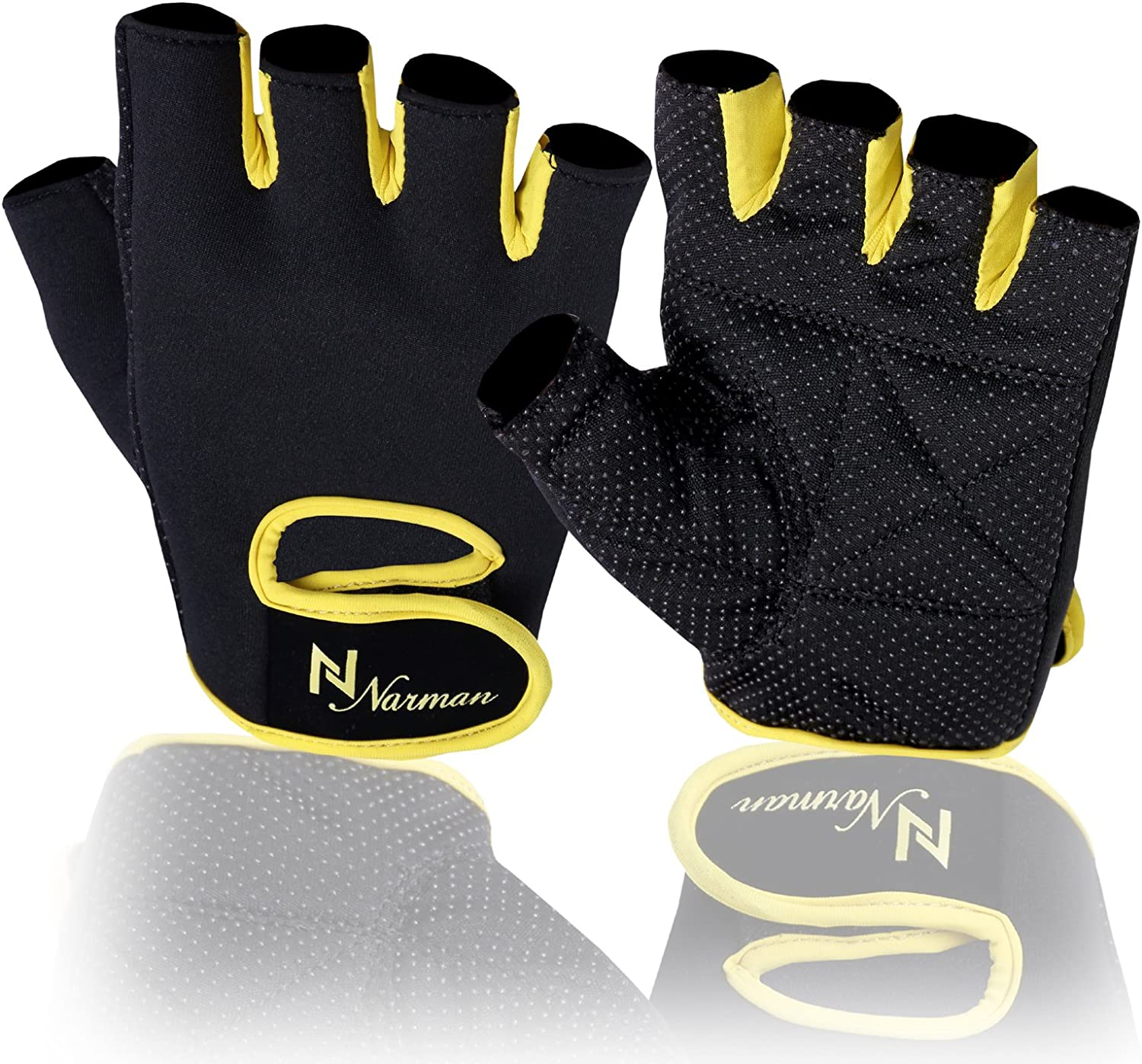 Weightlifting Gloves Fitness Glove Gym Training Long Wrist Straps Yellow Black