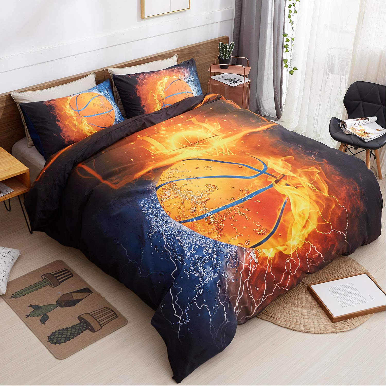 LAMEJOR Duvet Cover Set Queen Size 3D Bursting Basketball Fire Pattern Sports Theme Luxury Soft Kid's Bedding Set Comforter Cover (1 Duvet Cover+2 Pillowcases) Microfiber