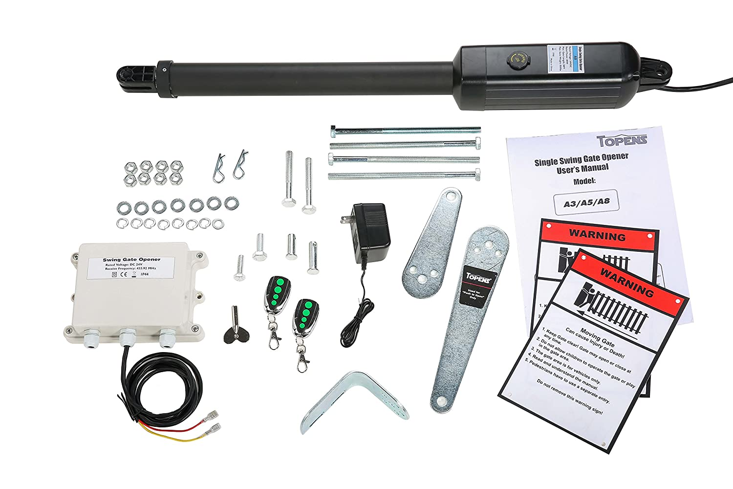 Topens A8 Automatic Gate Opener Kit Heavy Duty Single Gate Operator For Single Swing Gates Up To 18 Feet Or 850 Pounds Gate Motor