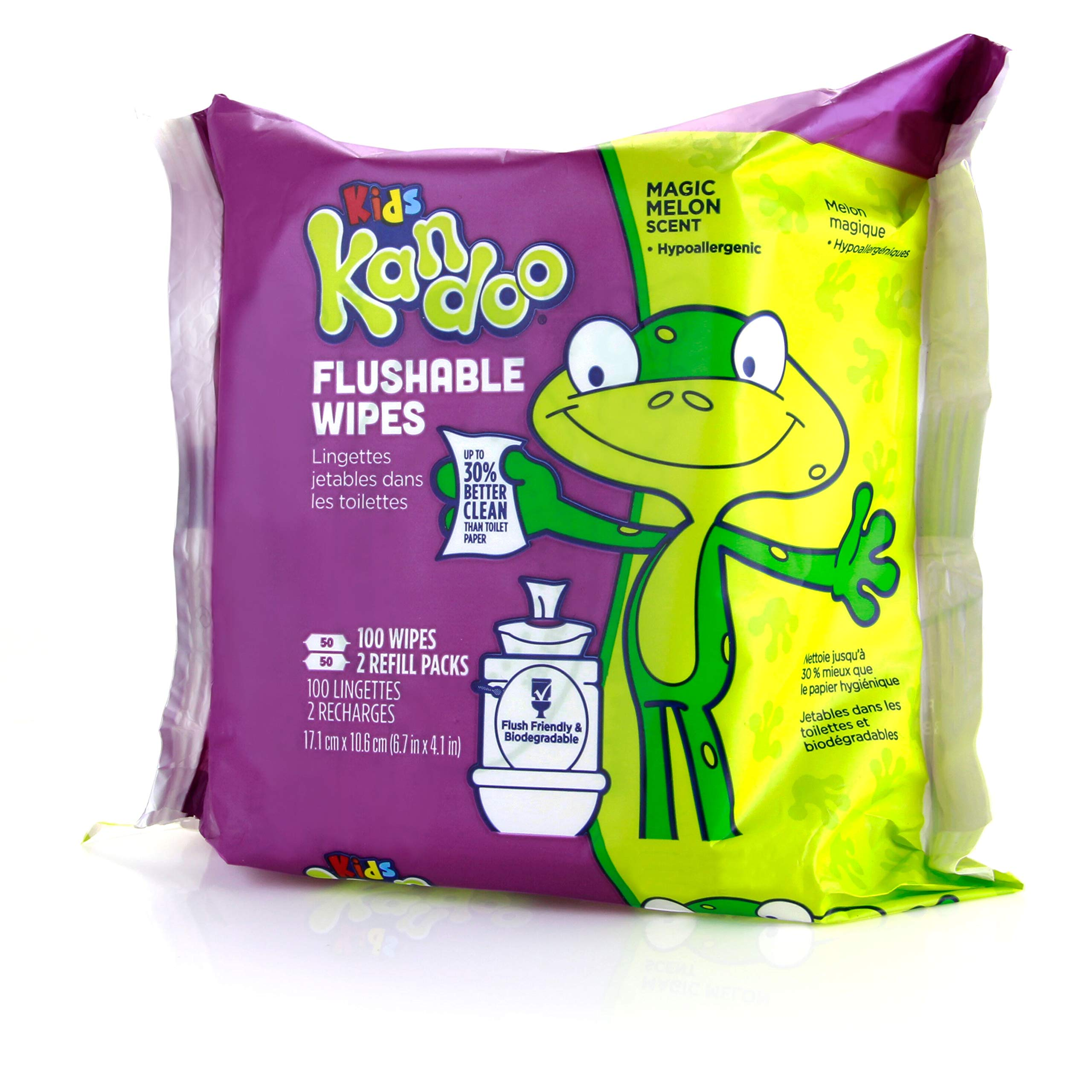 Flushable Baby Wipes for Kids, Magic Melon by Kandoo, Potty Training Wet Cleansing Cloths Refills, 100 Ct, Pack of 6 (Packaging May Vary) by Kandoo