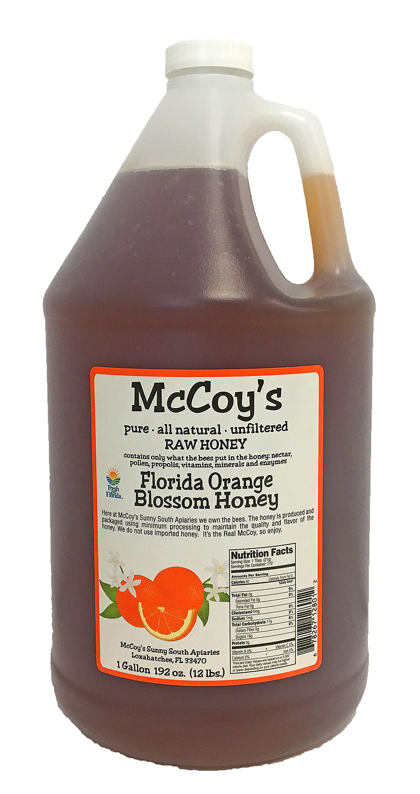 Raw Honey - Pure All Natural Unfiltered & Unpasteurized - McCoy's Honey Florida Orange Blossom Honey 1 Gallon