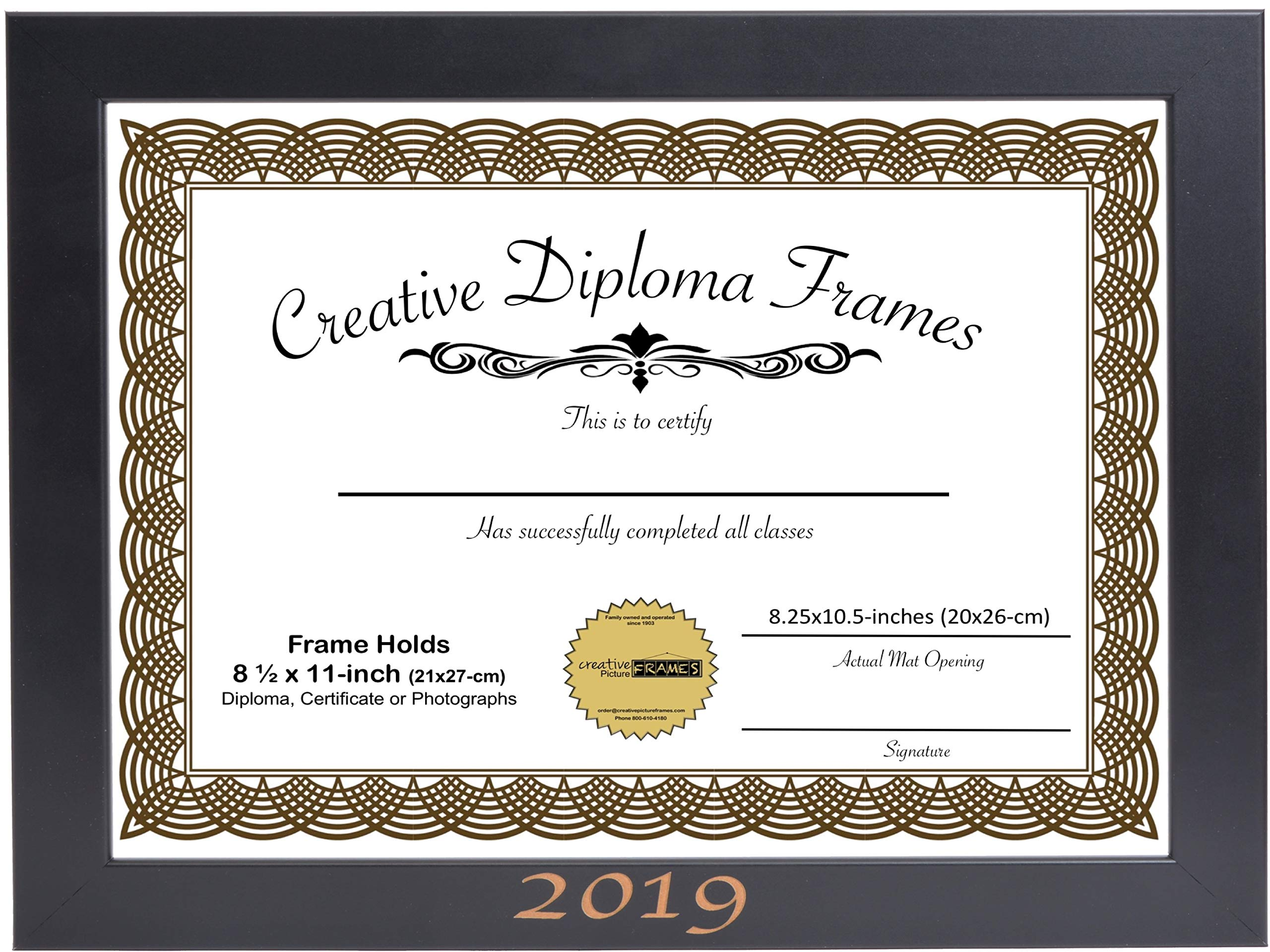 CreativePF [8.5x11bk] 2019 Black Graduation Frame with 8.5x11-inch White Mat Holds 8x10-inch Photo Media, with Stand and Installed Hangers