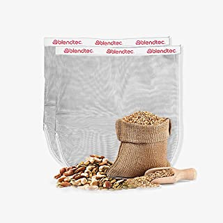 "product image for Blendtec Nut Milk Bag XL Size 13"" x 14"" - Commercial Grade Reusable Nylon Bag - All Purpose Fine Mesh Strainer Great for Celery Juice, Almond Milk, Oat Milk, Cold Brew, Fruit Juices & More (2 Pack)"