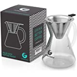 Pour Over Coffee Maker Set | 3-Cups (14oz/400ml) of Perfect Hand Drip Coffee | Tough Borosilicate Glass Carafe | Reusable Paperless Stainless Steel Mesh Filter | Plus FREE Coffee Hacks eBook