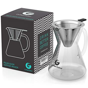 Coffee Gator Pour Over Coffee Maker, 400ml/3-Cup, Standard...