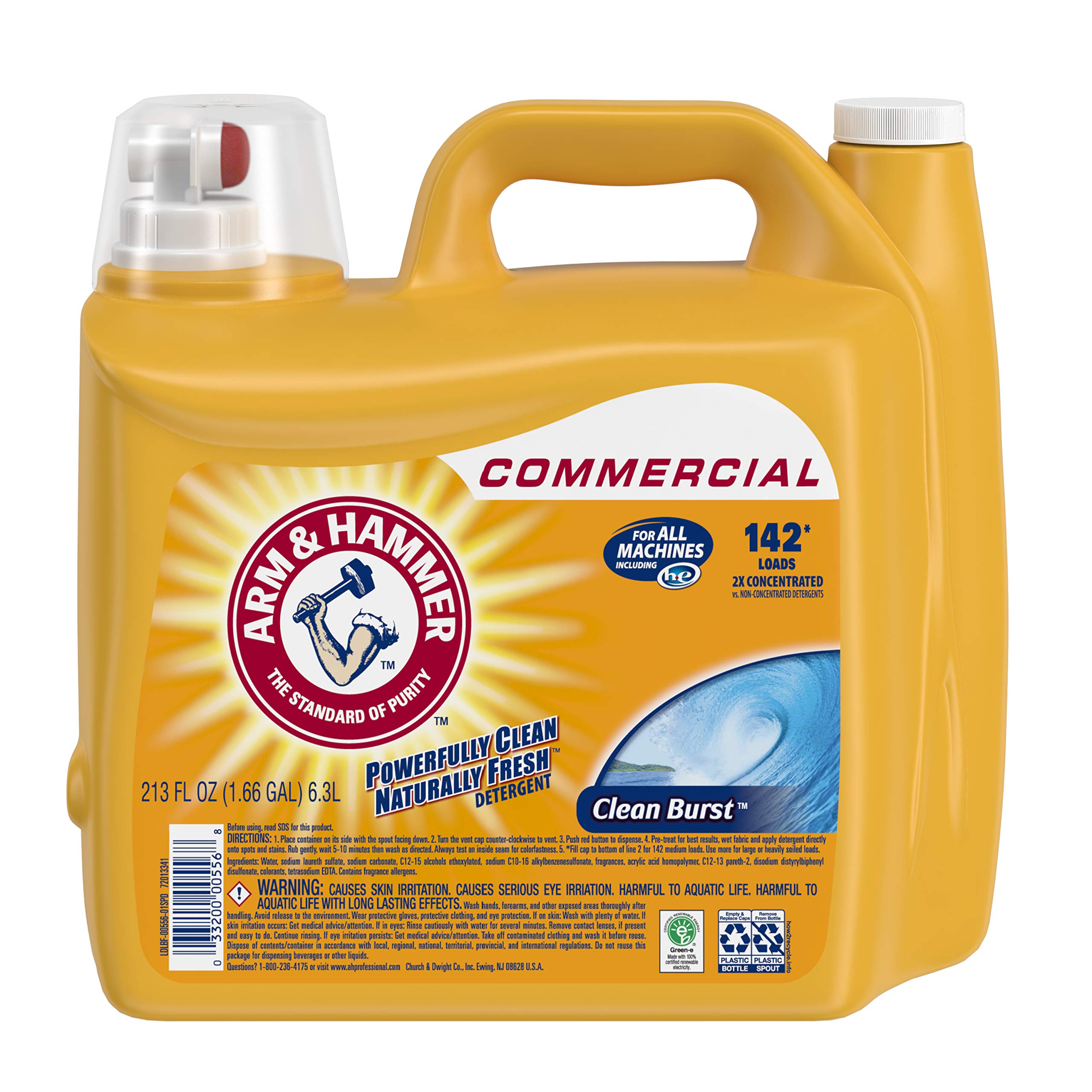 Arm & Hammer 33200-00556 Liquid Laundry Detergent, Clean Burst, 213 oz. 142 Loads (Pack of 2) by Arm & Hammer