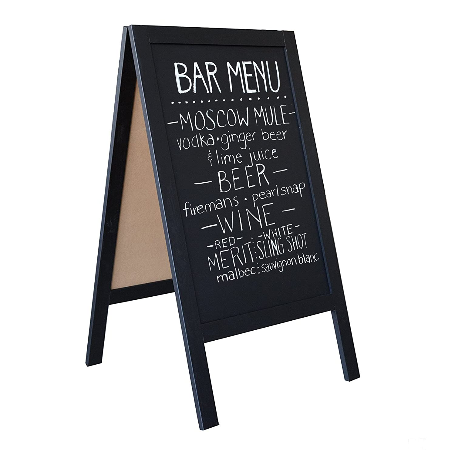 Wooden A-Frame Sign with Eraser & Chalk - 40 x 20 Magnetic Sidewalk Chalkboard – Sturdy Freestanding Sandwich Board Menu Display for Restaurant, Business or Wedding Ilyapa