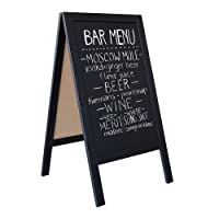 Wooden A-Frame Sign with Eraser & Chalk - 40 x 20 Inches Magnetic Sidewalk Chalkboard – Sturdy Freestanding Black Sandwich Board Menu Display for Restaurant, Business or Wedding