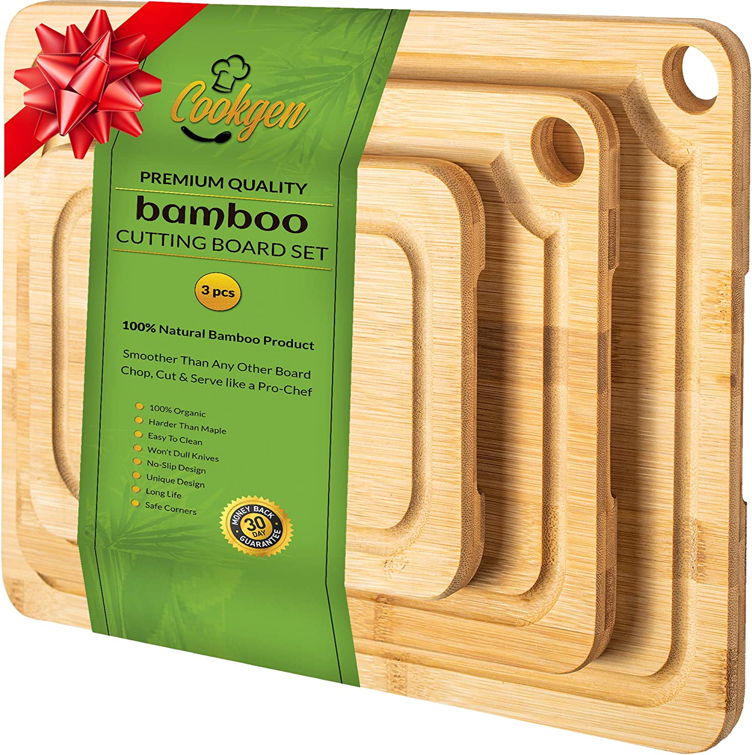 Cookgen Bamboo Cutting Board Set of 3 With Juice Groove, Pre Oiled, Large Handles
