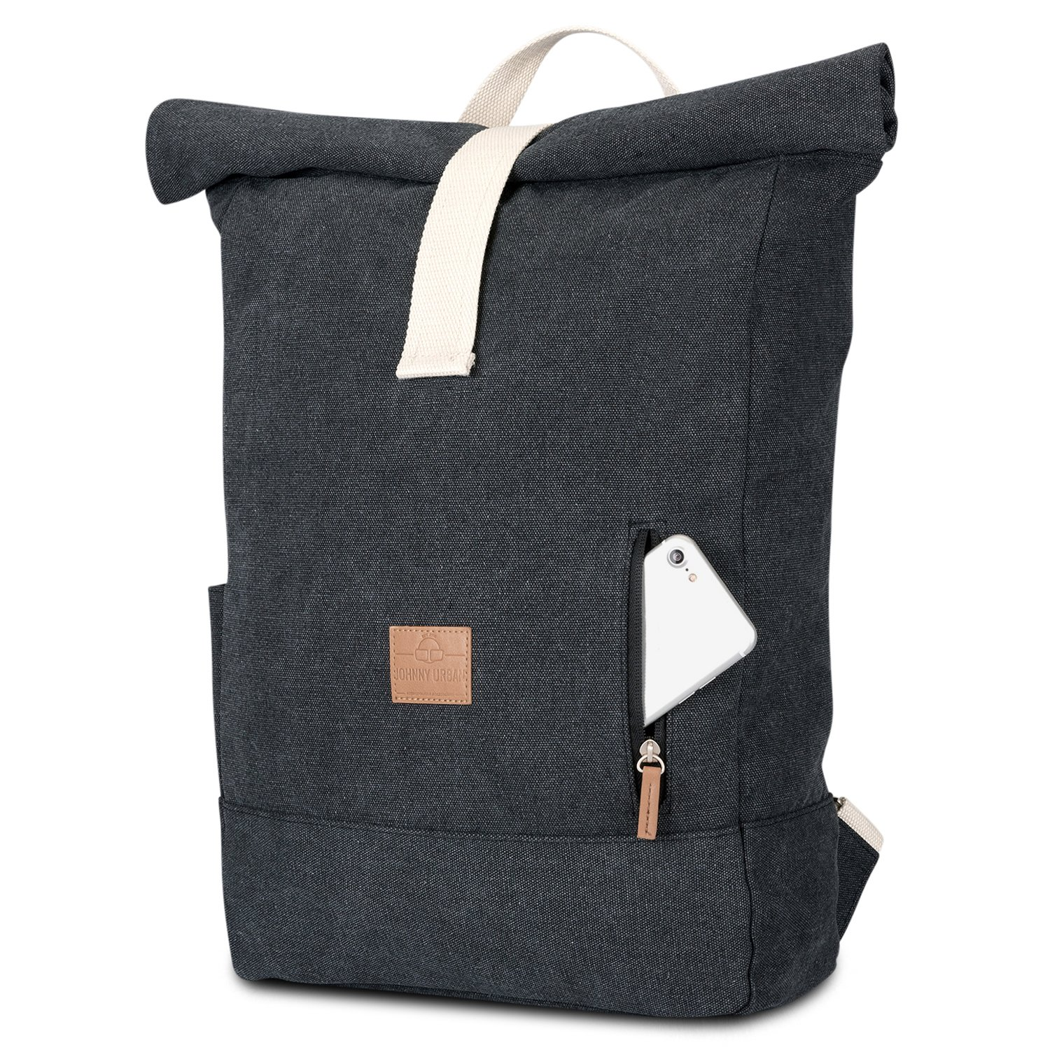 b8718aafffba Johnny Urban Roll Top Backpack from Cotton Canvas - Black - Durable Daypack  for Men   Women - Vintage 18 - 22 Litre Rucksack day-to-day Bag ...