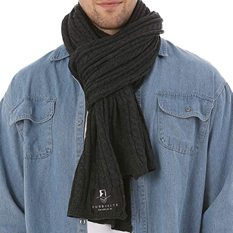 Forbusite Men Cable Knit Scarf For Winter Extra Long Grey Amazon Ca
