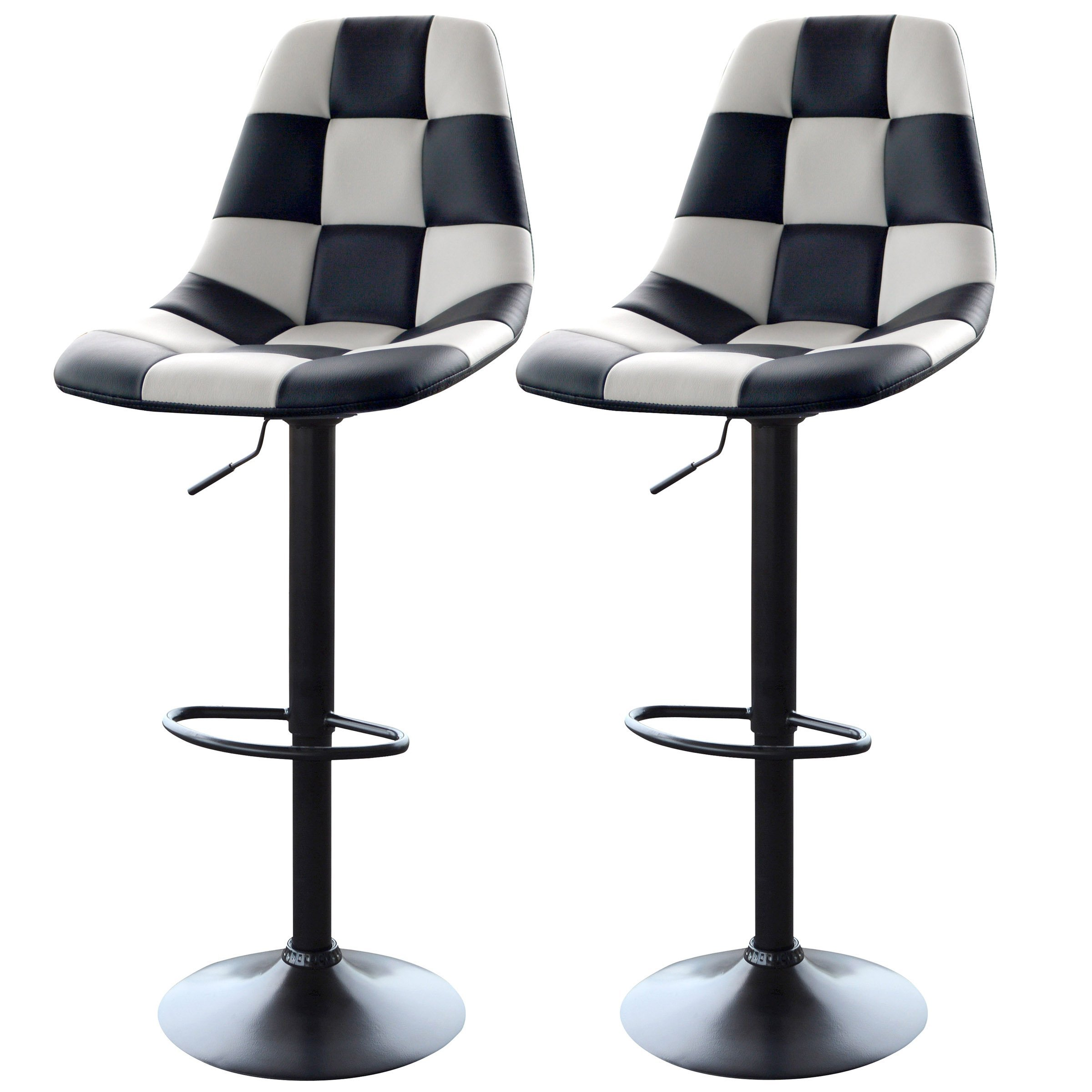 AmeriHome Checkered Racing Bar Chairs - Set of 2