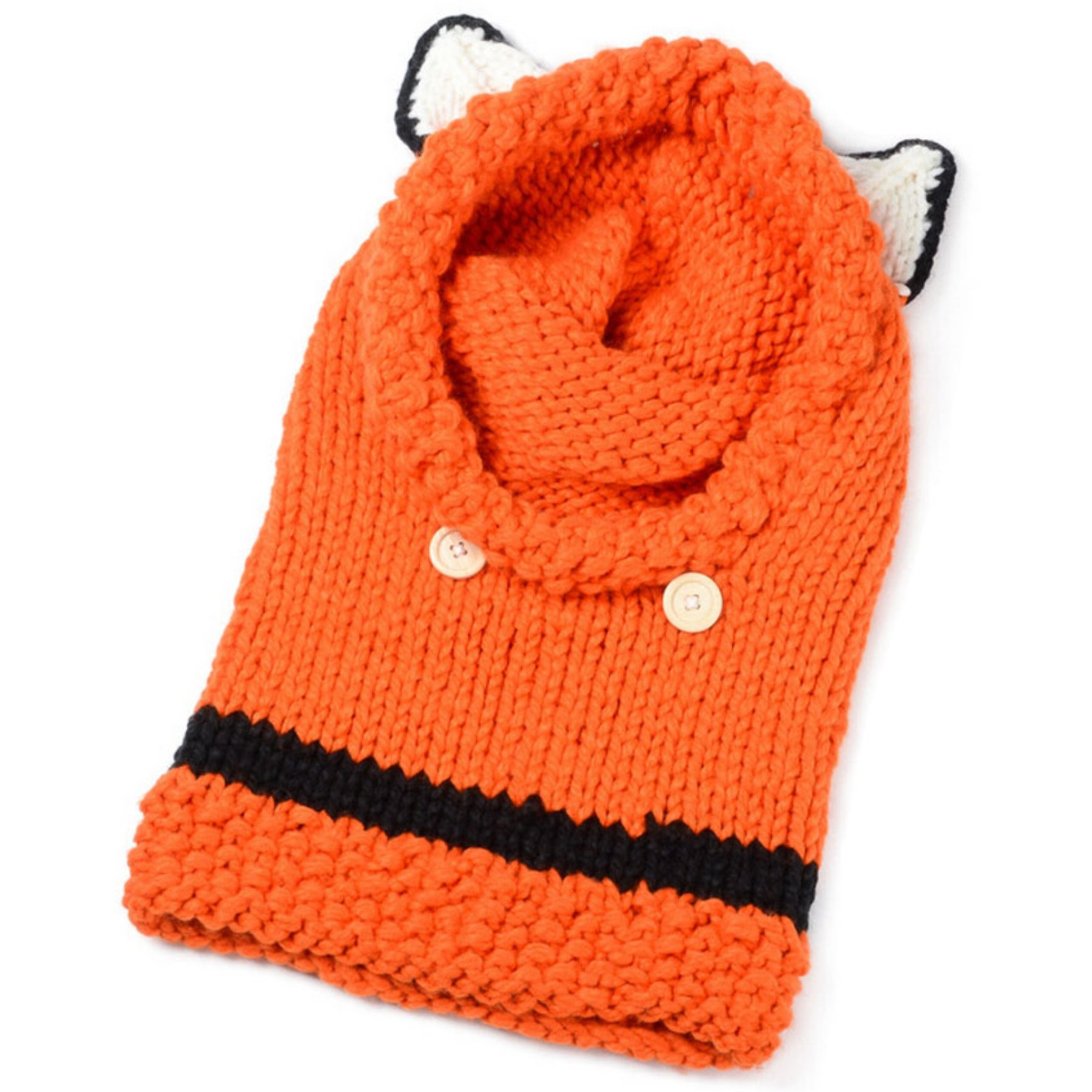 Tomily Animal Fox Ears Wool Cap Knit Hoodie Hand-Crocheted Collar Hood Face Mask Hat Earmuffs