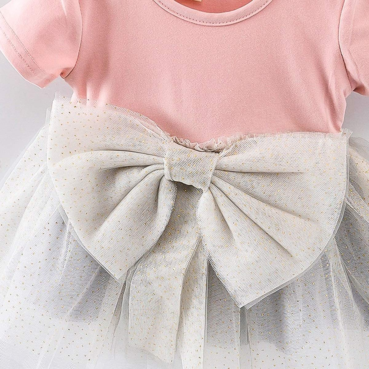 Puseky Infant Baby Girl Lovely Plump Tulle Bowknot Bling Gilding Pink Dress