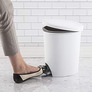 product image for Sterilite 10818002 2.6 Gallon/9.8 Liter Ultra StepOn Wastebasket, White Lid & Base w/Titanium Pedal & Liner, 2-Pack