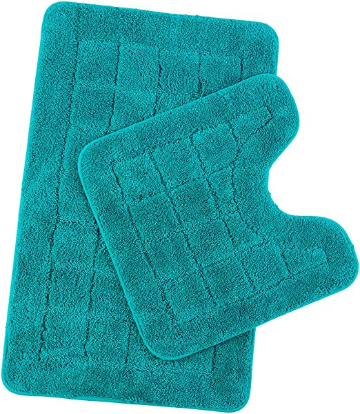 2-pc Blue Bath Mat//Rug Set Super Soft Non-Slip Backing Deep Plush
