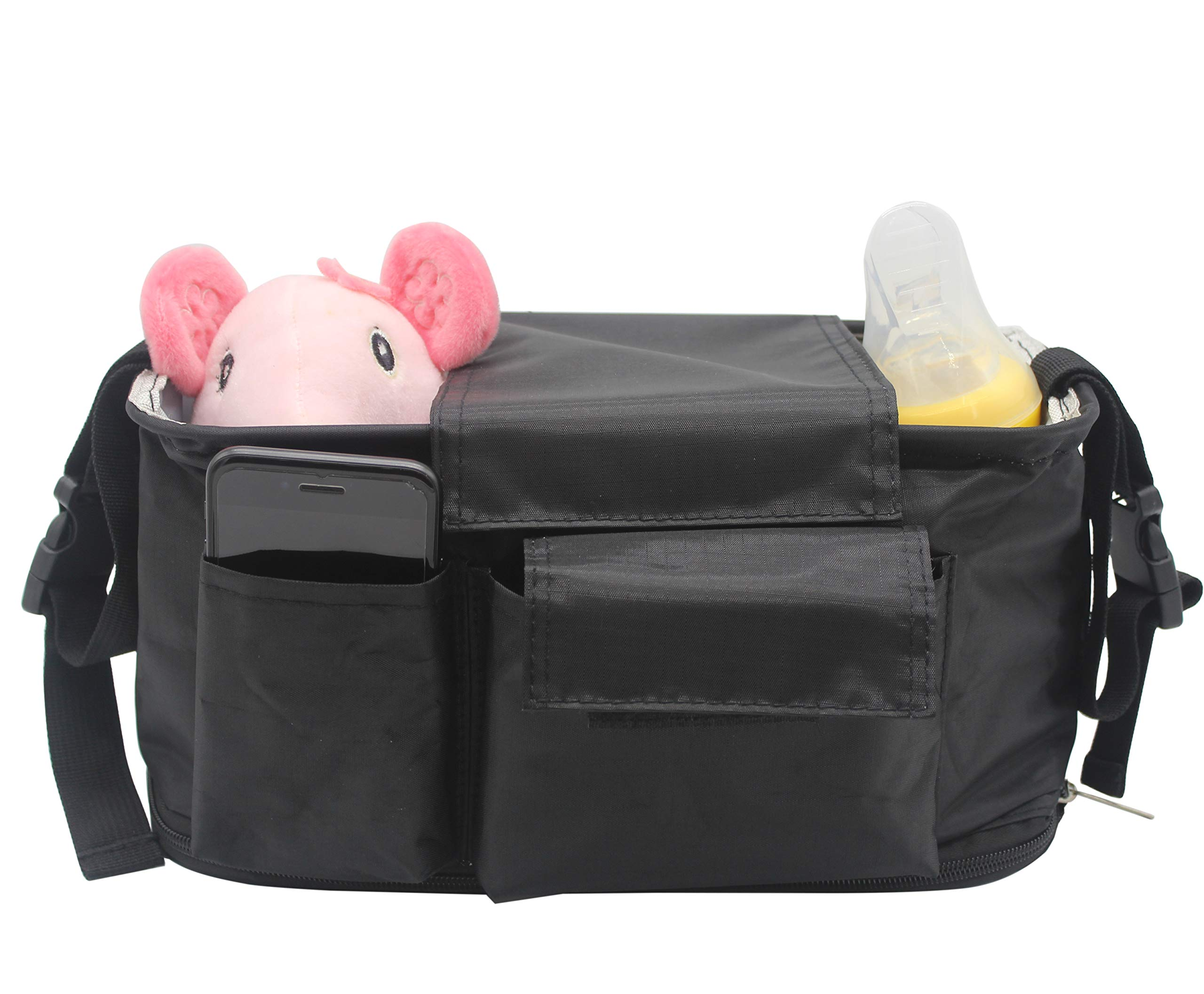 Universal Baby Stroller Organizer Bag   Diaper Bag with Cup Holders and Shoulder Strap Large Storage Space for Phones,Keys,Diapers,Toys Best Stroller Attachment for Smart Moms