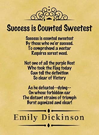 A4 Size Parchment Poster Classic Poem Emily Dickinson Success is ...