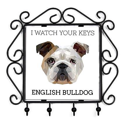 BullDog Inglés, ropa Percha con una imagen de un perro, Geométrico Collection