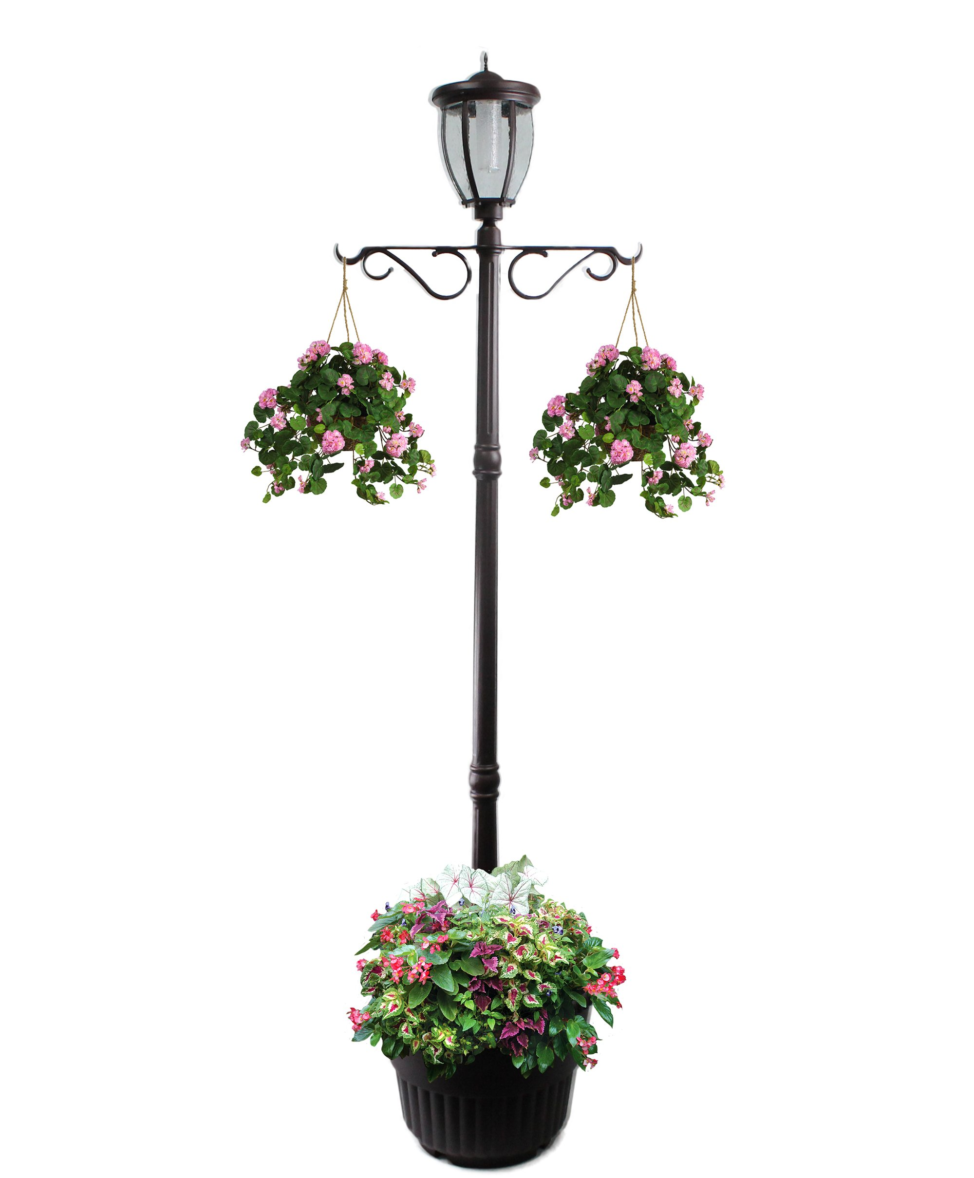 7' Tall Kenwick Solar Lamp Post and Planter with Plants Hanger, Amber and White LEDs, Brown, Outdoor Lighting