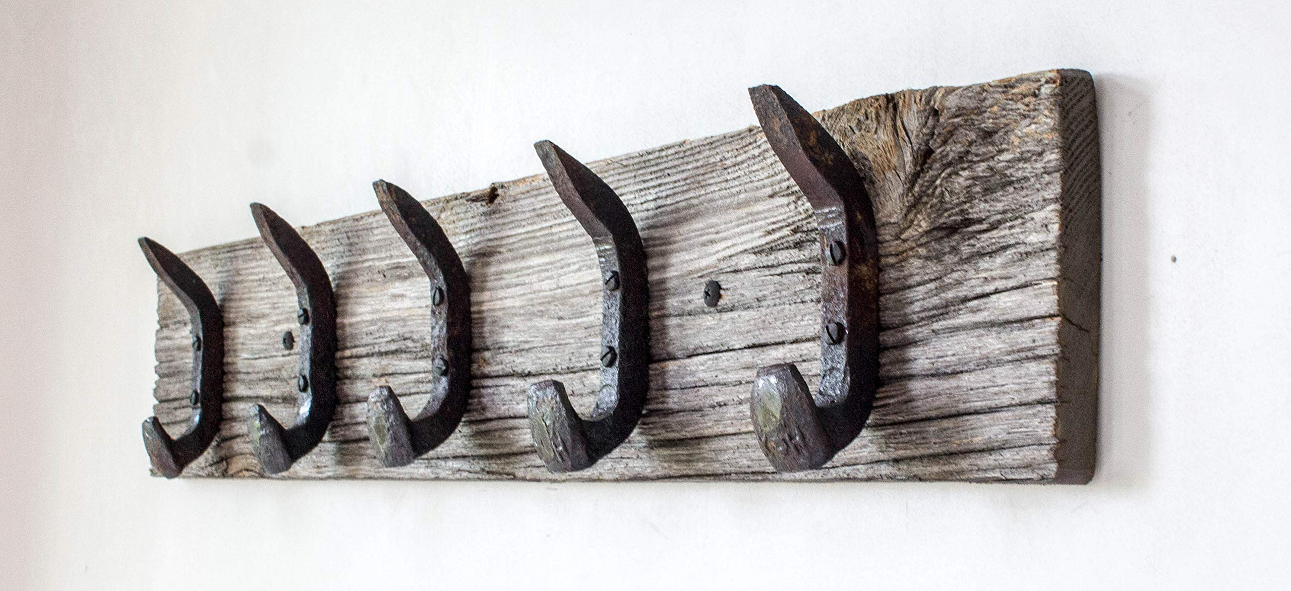 Vintage Rustic Coat Rack –Authentic Barn Wood Hanger Rack for Towels, Clothes, Hats, Bags–Antique Door & Wall Mounted 5-Hook Rail (Railroad Spike Double Hook- 32''x5¾''x 7/8'', Gray)
