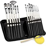 Artist Paint Brushes-15pcs Short Handle Multi-Functionial Brushes Shape for Acrylic Painting, Watercolor, Oil and Gouache(with Carrying Case)