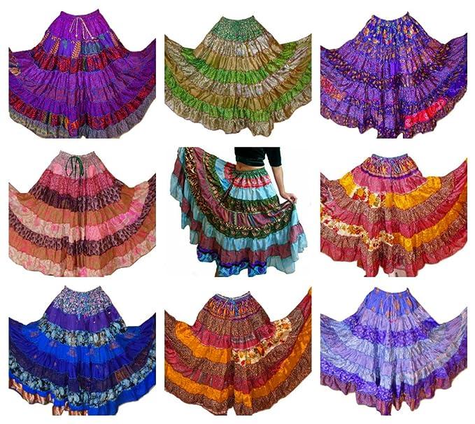 Pack de 10 - 7 Patio Tribal Gitano Maxi niveles falda danza del ...