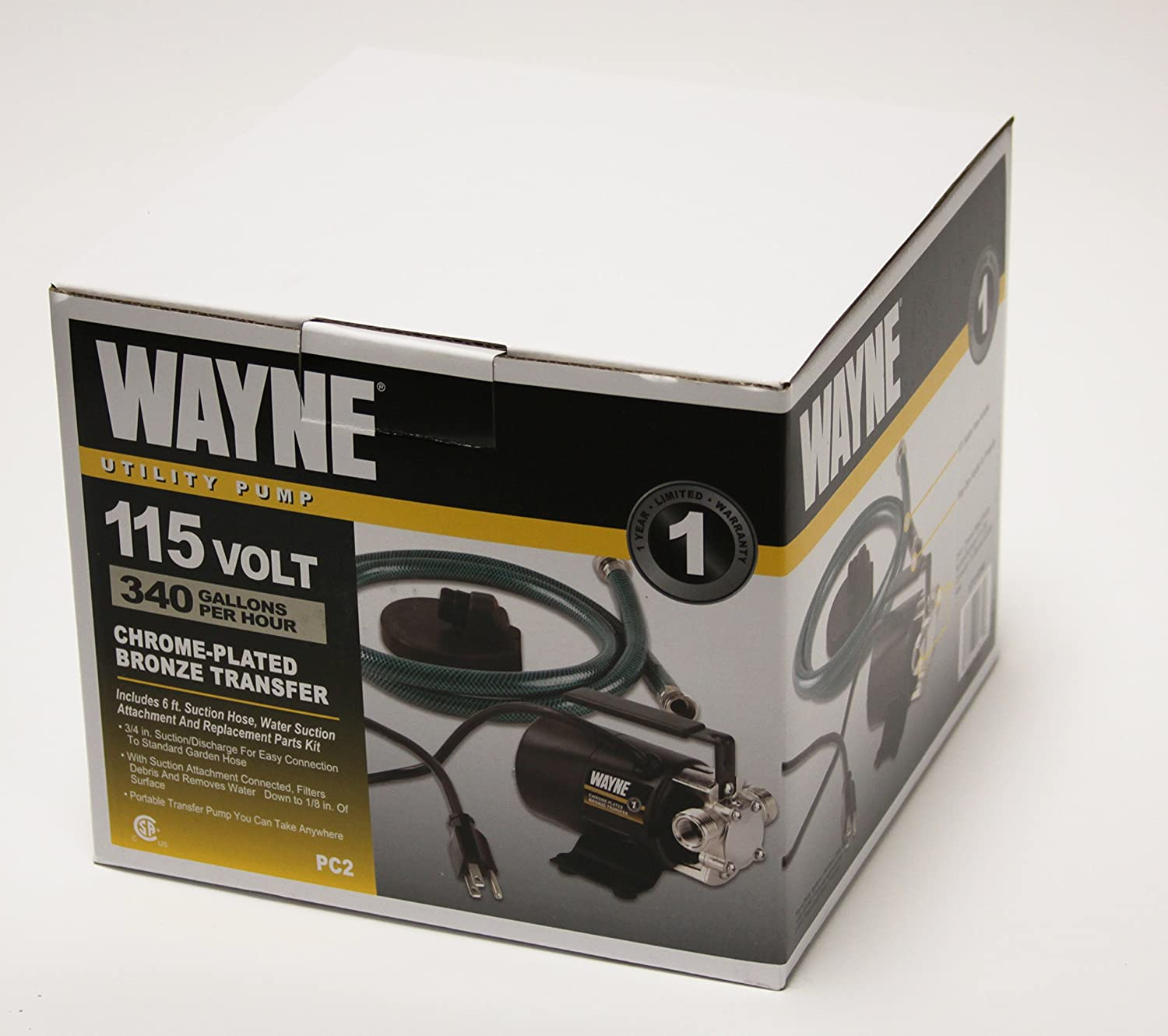 Wayne Pc2 Portable Transfer Water Pump With Suction Hose And