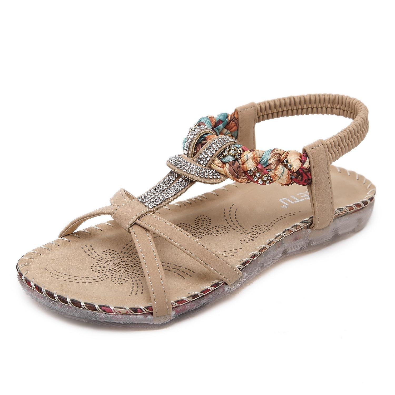 Pastaza Bouml;hmische Sandalen Damen Flach Sandaletten Sommer Bohemia Schuhe Strandschuhe  35 EU|Aprikose