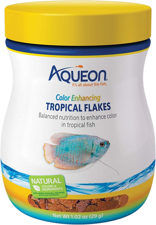 Aqueon Tropical Color Enhancing Flakes Fish Food, 1.02-Ounce