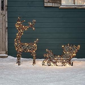Lights4fun, Inc. Rattan Reindeer & Sleigh Pre-Lit LED Christmas Light Up Figures Decoration