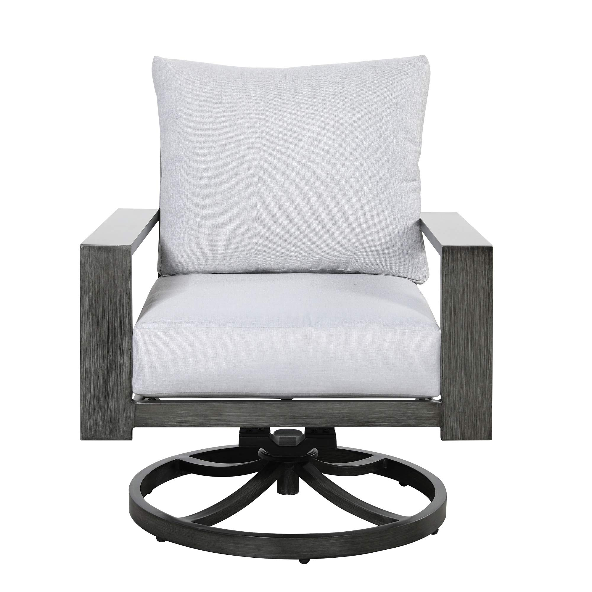 Roscoe Outdoor Swivel Rocker Lounge Chair in Stone White and Deep Gray  with Comfortable Cushions And Durable Materials, by Artum Hill