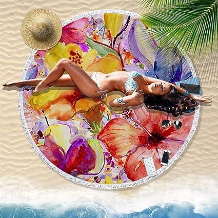 Amazon.com: WLEZY Beach Towel Flower Round Beach Towel 150cm ...