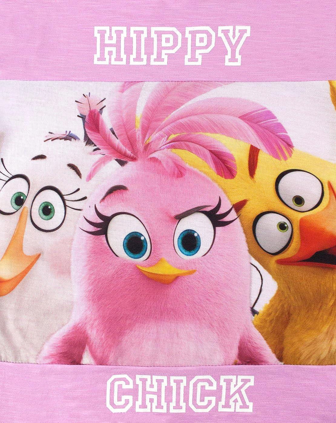 Angry Birds Maglietta Rosa e Bianca Hippy Pulcino Ragazza