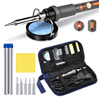 PICTEK Soldering Iron Kit, Temperature Adjustable Electric Welding Tool with [ON/OFF Switch & LED Indicator], 5pcs Soldering Tips, Tip Cleaner Holder Stand and Solder Wire, 60W 110V