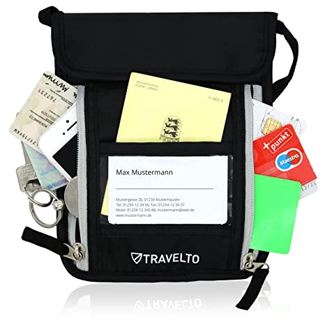 TRAVELTO Portadocumenti da collo unisex con blocco RFID 992686c617c
