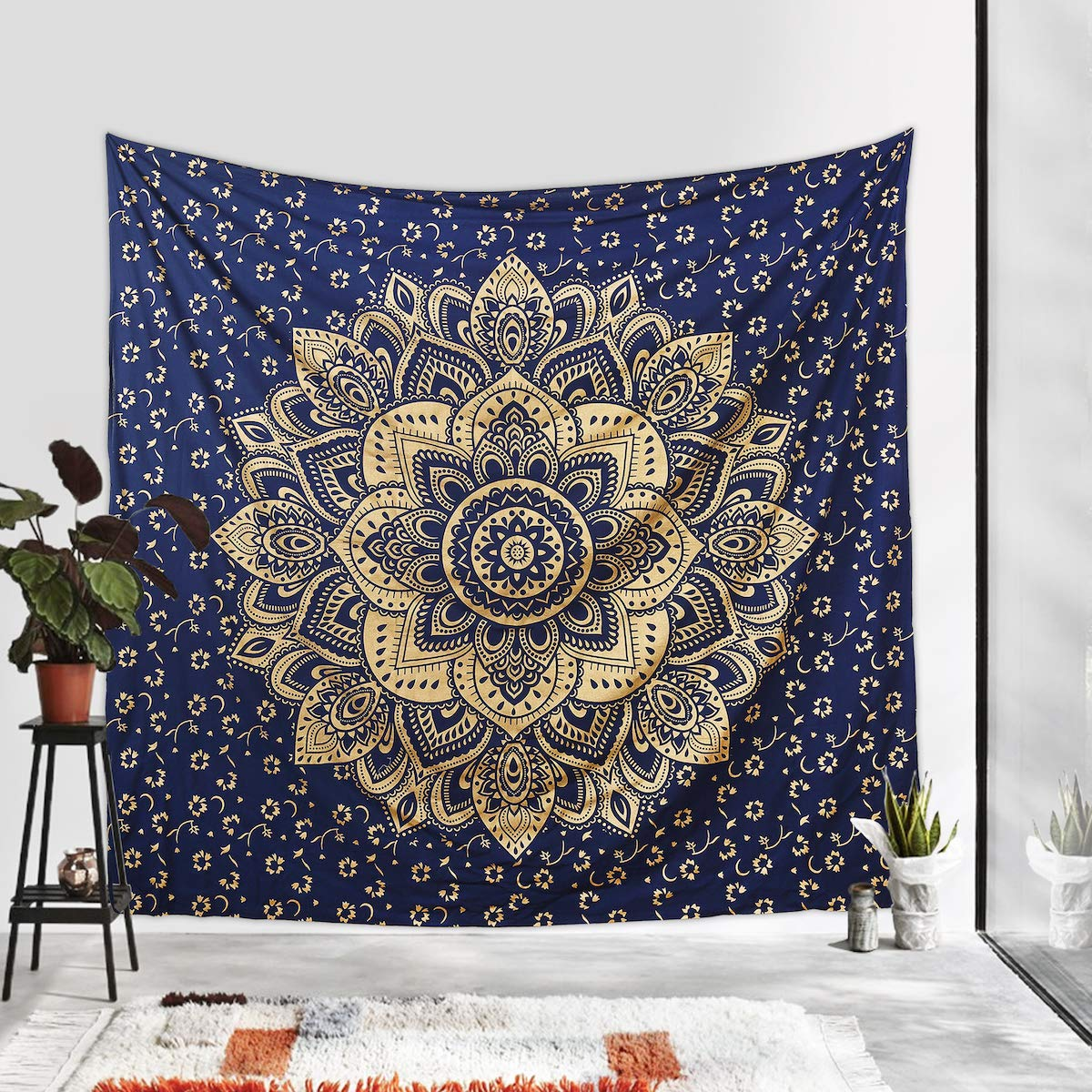 New New Launched Blue Silver Passion Ombre Mandala Tapestry By Madhu Internat..