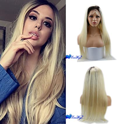Eseewigs largo recto peluca de encaje 100% cabello humano remy brasileño virginal negro enraizada rubia