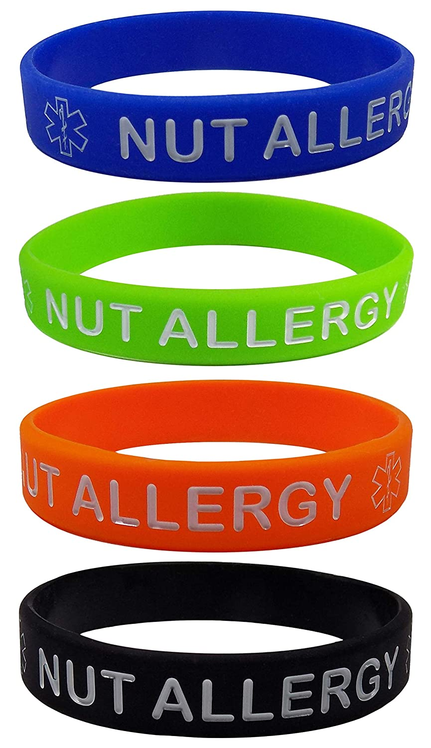 Max Petals NUT Allergy Silicone Wristbands - Blue, Orange, Green and Black Kid's Sizes (4 Pack)