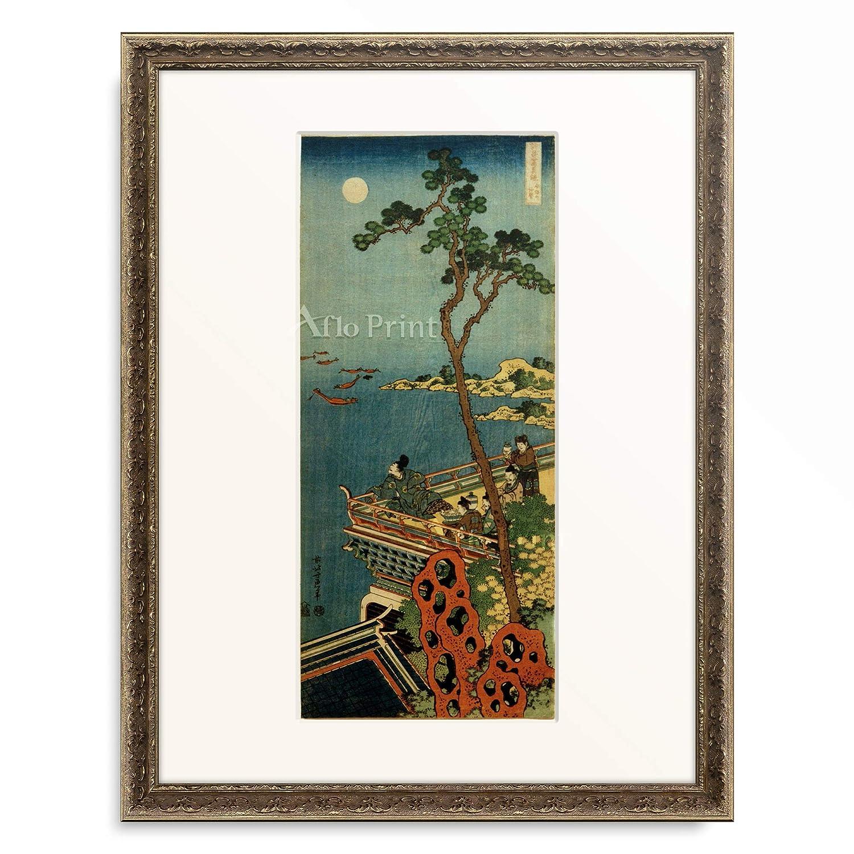 葛飾北斎 Katsushika Hokusai 「詩歌写真鏡 安部の仲麿」 額装アート作品 S(額内寸 255mm×203mm) 09.装飾額 19mm(黒金) B07PTZBZPB