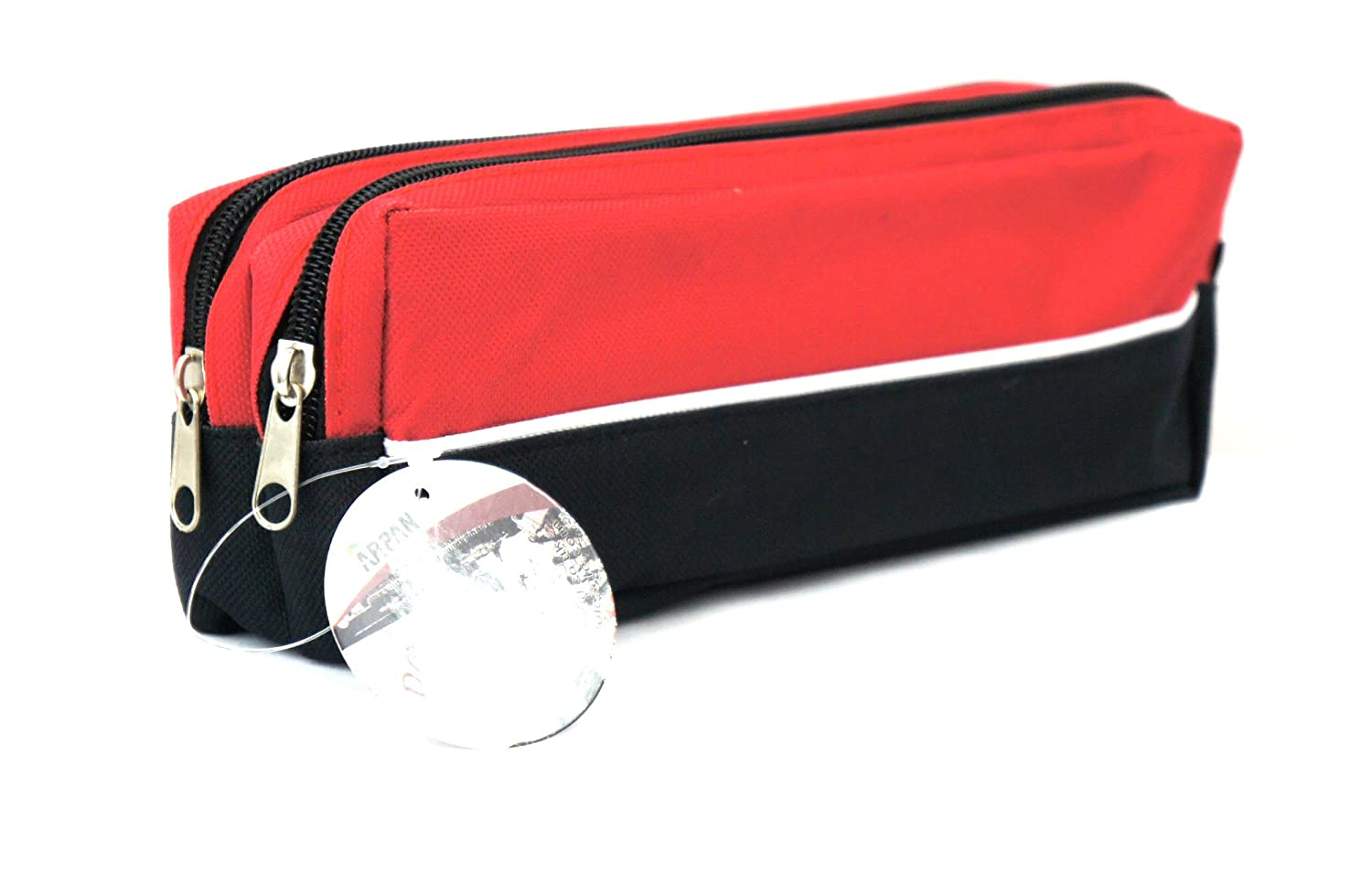 Arpan X-Large size Double Zip Fabric Pencil Case - Ideal For School/College/Uni.- Make Up -x 1 (BLACK)