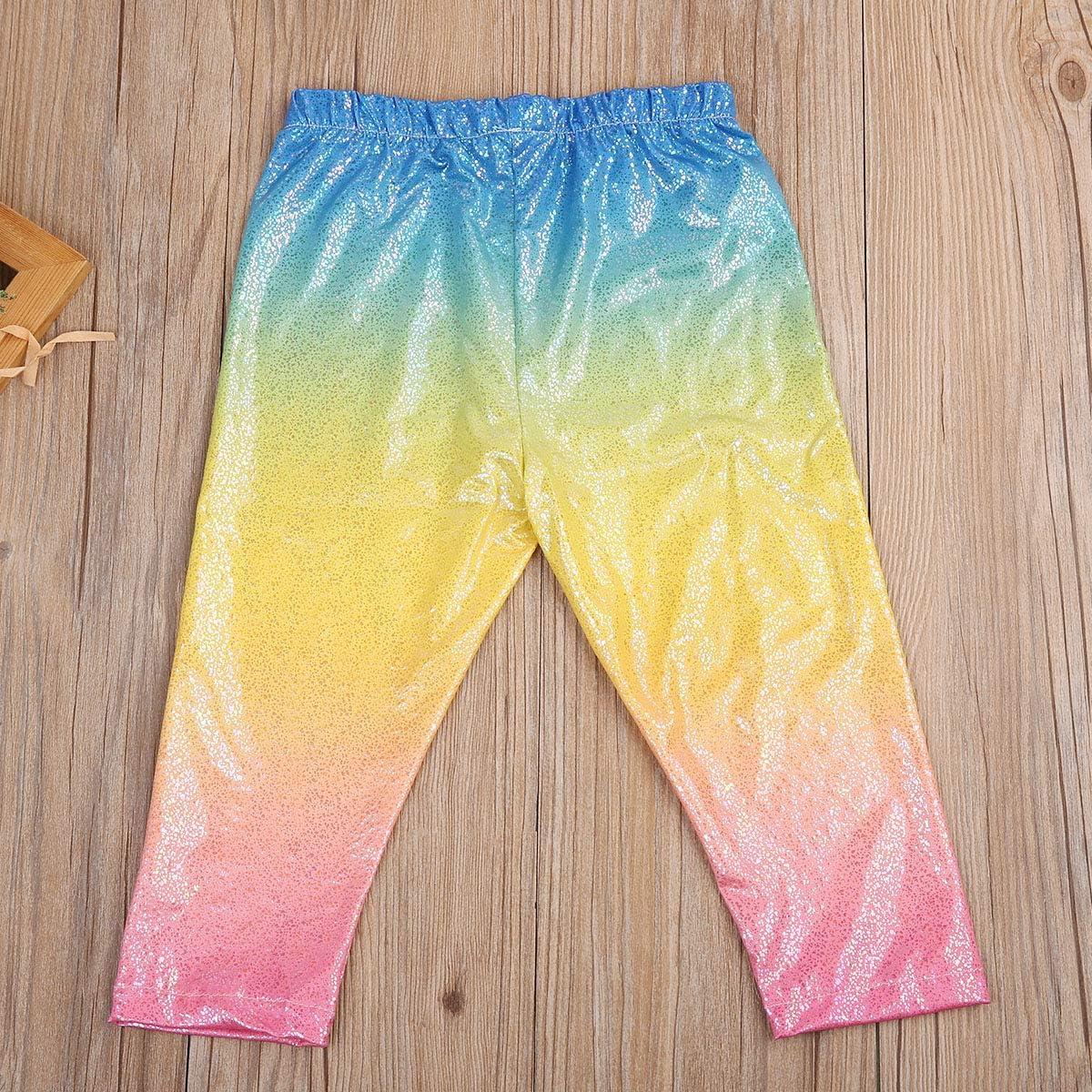 Longfei Neonate Glitterate Pantaloni con Leggings con Paillettes Lucide Arcobaleno Pantaloni Skinny da Principessa Bottom